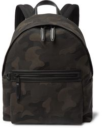 Mulberry Leather-trimmed Camouflage-print Canvas Backpack - Green