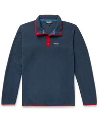 Patagonia Snap-t Nylon-trimmed Micro D Fleece Pullover - Blue