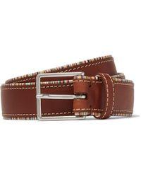 Paul Smith - 3cm Stripe-trimmed Tan Leather Belt - Lyst