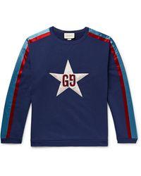 Gucci Star-appliquéd Cotton-jersey Sweatshirt - Blue