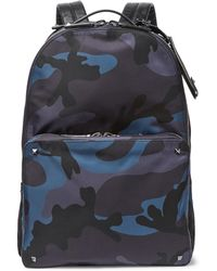 Valentino | Leather-trimmed Camouflage-jacquard Shell Backpack | Lyst