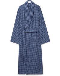 Emma Willis Gingham Brushed-cotton Robe - Blue