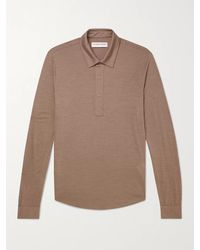 Orlebar Brown Sebastian Merino Wool Polo Shirt - Brown