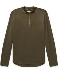Agnona Super 130s Wool-twill Half-zip Polo Shirt - Green