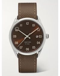 Tom Ford 002 40mm Automatic Stainless Steel And Pebble-grain Leather Watch - Brown