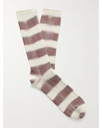 MR P. Ribbed Tie-dyed Striped Cotton-blend Socks - Purple