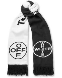 Off-White c/o Virgil Abloh | Fringed Intarsia Cotton Scarf | Lyst