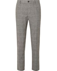 Dolce & Gabbana Slim-fit Prince Of Wales Checked Wool-blend Trousers - Gray