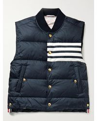 Thom Browne Striped Quilted Shell Down Gilet - Blue
