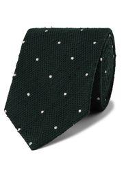 Drake's 8cm Embroidered Polka-dot Slub Silk Tie - Green