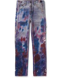 Off-White c/o Virgil Abloh Wide-leg Paint-splattered Tie-dyed Denim Jeans - Purple