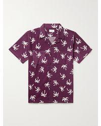 Onia Vacation Camp-collar Printed Cotton-jacquard Shirt - Purple