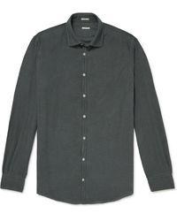 Massimo Alba Slim-fit Houndstooth Cotton Shirt - Green