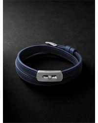 Messika My Move Brushed-titanium, Leather And Diamond Bracelet - Blue