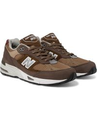 New Balance - 991 Leather-trimmed Nubuck, Suede And Mesh Trainers - Lyst
