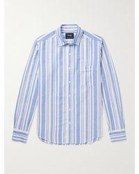 Drake's Slim-fit Striped Linen And Cotton-blend Shirt - Blue