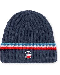 Fusalp Striped Logo-appliquéd Merino Wool Ski Beanie - Blue