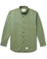 WTAPS Button-down Collar Logo-appliquéd Twill Shirt - Green