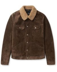 Tom Ford Slim-fit Shearling-trimmed Suede Trucker Jacket - Brown