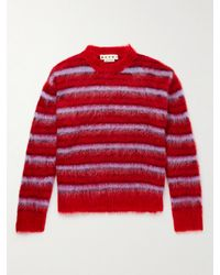 Marni Oversized Brushed Striped Mohair-blend Jumper - Red