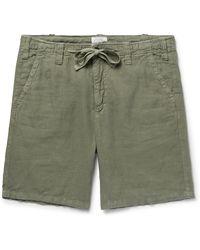Hartford Slim-fit Linen Drawstring Shorts - Green