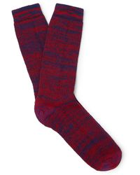 Loewe Eye//nature Mélange Stretch-knit Socks - Red