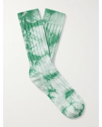 Stussy Tie-dyed Ribbed Cotton-blend Socks - Green