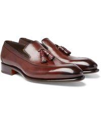 Santoni Burnished-leather Tasseled Loafers - Brown