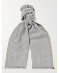 Brunello Cucinelli Fringed Striped Wool And Cashmere-blend Scarf - Grey
