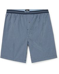 BOSS by HUGO BOSS Striped Cotton-poplin Pajama Shorts - Blue