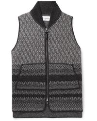 CONNOLLY Fair Isle Wool Gilet - Grey