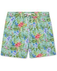 Hartford Mid-length Printed Swim Shorts - Blue