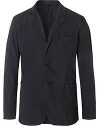 Aspesi Navy Slim-fit Unstructured Garment-dyed Cotton-poplin Blazer - Blue