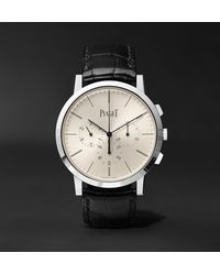Piaget Altiplano Flyback Automatic Chronograph 41mm 18-karat White Gold And Alligator Watch, Ref. No. G0a41035 - Metallic