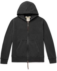 Remi Relief Leather-trimmed Loopback Cotton-jersey Zip-up Hoodie - Black