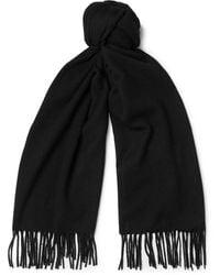 Acne Studios Canada Narrow Wool Fringed Scarf - Black