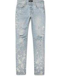 Amiri Thrasher Minus Skinny-fit Distressed Bleach-splattered Stretch-denim Jeans - Blue