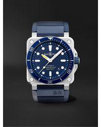 Bell & Ross Br0392-d-bu-st/srb Men's Diver Automatic Date Rubber Strap Watch - Blue