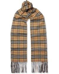 Burberry - Reversible Fringed Checked Cashmere Scarf - Lyst
