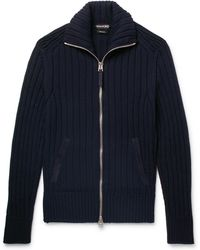 Tom Ford - Suede-trimmed Wool Zip-up Cardigan - Lyst