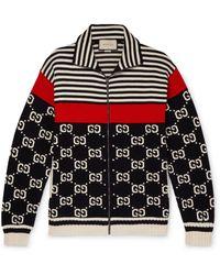 Gucci Logo-intarsia Striped Cotton Zip-up Sweater - Black