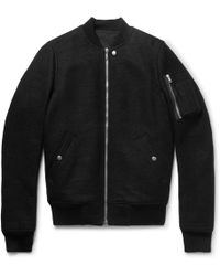 Rick Owens - Boiled Virgin Wool Bomber Jacket - Lyst