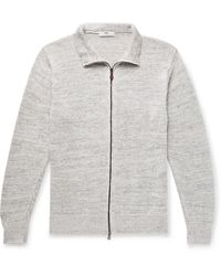 Inis Meáin Washed-linen Zip-up Cardigan - Gray