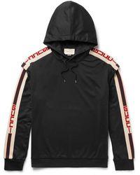 Gucci Webbing-trimmed Tech-jersey Hoodie - Black