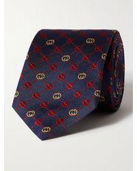 Gucci 7cm Logo-jacquard Silk Tie - Blue