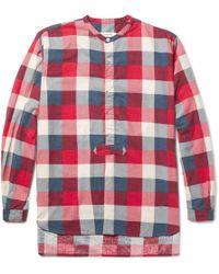 Nonnative - Master Slim-fit Grandad-collar Checked Brushed-cotton Shirt - Lyst