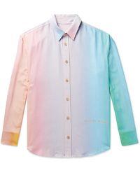 The Elder Statesman Printed Slub Silk Shirt - Blue