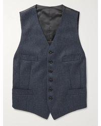 Kingsman Conrad Slim-fit Mélange Wool And Satin Waistcoat - Blue