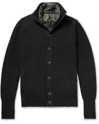 Incotex - Waffle-knit Virgin Wool Cardigan With Detachable Quilted Shell Down Gilet - Lyst