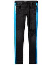 Amiri - Broken Track Skinny-fit Striped Distressed Stretch-denim Jeans - Lyst